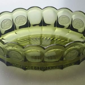 Vintage Fostoria Coin Glass Elongated Bowl